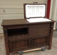 Outdoor Bar cabinet - Outdoor Rustic Wooden Cooler Bar, Serving or Console Table, Bar Cart or Mini Fridge Bar Cabinet and Patio Furniture.
