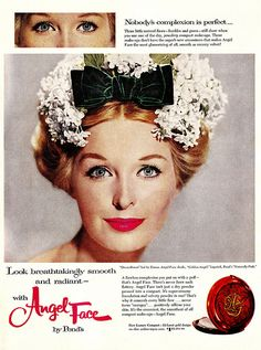 Look Breathtakingly Smooth and Radiant in a completely charming white lilac bedecked hat and Pond's Angel Face make-up. #1950s #hat #vintage #ad #makeup #cosmetics