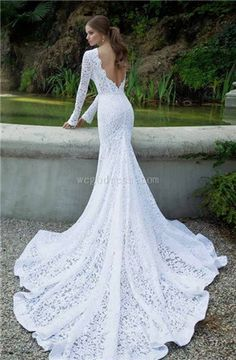 Vintage inspired wedding gown, long-sleeved with train. Absolutely love this @Denise H. ❤️
