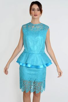 Turquoise lace trimmed skirt and blouse