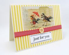 Just for You  Any Occasion Card  Bird Card  by PrettyByrdDesigns