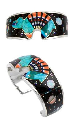 "Cuff bracelet | Jesse Monongya. ""Bear & Skies"". Sterling silver inlaid with coral, turquoise, Acoma jet, dolomite, opal and 18k white and yellow gold"