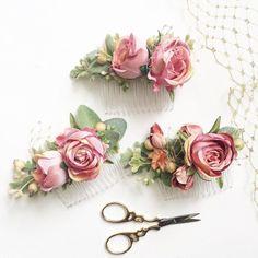 Blush damas peines de oro y Blush boda conjuntos oro pelo accesorios damas regalo Blush boda - peinetas decorativas
