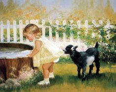 Cute children's paintings by Donald Zolan. Donald is currently recognized as America's premier children's artist. His work celebrates the joy of childhood, with all its wonders, innocence, and love. Artists For Kids, Art For Kids, Tier Fotos, Jolie Photo, Girl And Dog, Vintage Children, Cute Kids, Animation, Illustrations