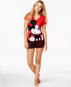 Mickey Mouse Top And Boxer Shorts Set - Bras, Panties & Shapewear - Women - Macy's
