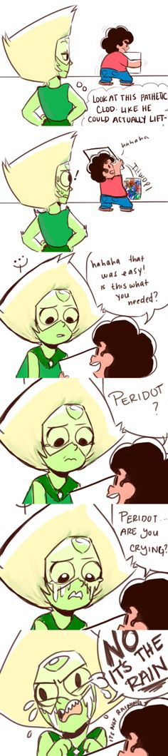 """""""Peridot confirmed as the weakest gem in Steven Universe (and the most self conscious)"""" by kayydotts"""