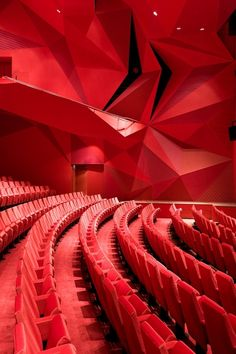 All red theatre hall is a bold move on the architect.