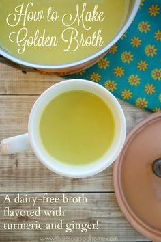 Golden Broth is a savory spin on traditional Golden Milk. Made with well known immune system boosters including turmeric, ginger, and homemade broth, it's the perfect cup for the winter months! | This is so good...