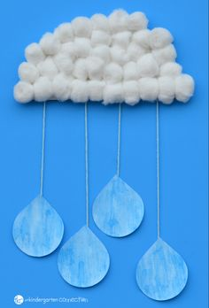 Rain Cloud Craft for Kids is part of Kids Crafts Spring Classroom - This rain cloud craft for kids is a super fun activity to bring in spring! Made with simple materials, it also makes a great classroom display! Daycare Crafts, Classroom Crafts, Toddler Crafts, Preschool Crafts, Kids Crafts, Arts And Crafts, Craft Kids, Kids Fun, Kindergarten Crafts Summer