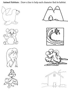Worksheet that connects animal with habitat