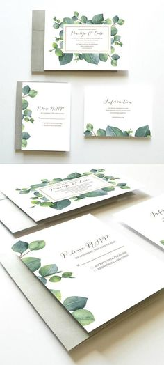 Eucalyptus Wedding Invitation, Botanical Wedding Invitation, Green Wedding Invitation, Wedding Invitation Suite, Wedding Invitation Set Printable Wedding Invitation Set // Succulents Leaves and Herbs // by Oak House Printable Designs Bohemian Wedding Invitations, Botanical Wedding Invitations, Watercolor Wedding Invitations, Wedding Invitation Design, Wedding Stationary, Invitation Suite, Succulent Wedding Invitations, Free Printable Wedding Invitations, Event Invitations