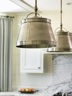 Antiqued nickel light fixtures, and hammered pewter pulls on cabinets. Circa Lighting, Antique Lighting, Rustic Lighting, Cool Lighting, Lighting Design, Lighting Ideas, Pendant Lighting, Kitchen Lighting Fixtures, Light Fixtures
