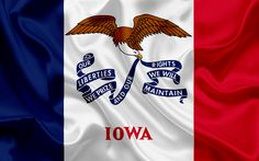 Download wallpapers Iowa Flag, flags of States, flag State of Iowa, USA, state Iowa, silk flag, Iowa coat of arms