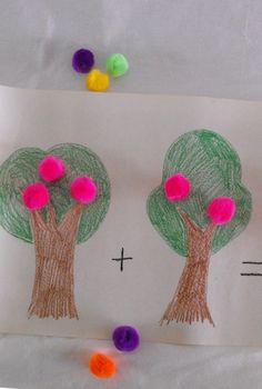 okul öncesi kağıttan meyve ağacı ile toplama çıkarma öğrenme