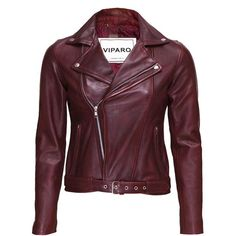 Viparo oxblood wb3 red jacket ($309) ❤ liked on Polyvore featuring outerwear, jackets, coats, red leather jackets, zip front jacket, leather belt, fleece-lined jackets and leather biker jacket