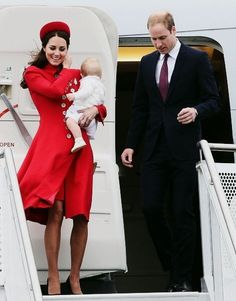 William, Kate, and Prince George arrive in Wellington NZ. 4/6/14 Kate wearing Catherine Walker coat, Gina Foster pillbox hat, and diamond and silver fern brooch (gift to the Queen from NZ)