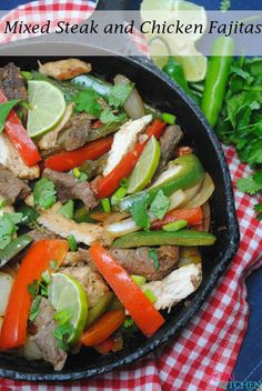 Mixed Steak and Chicken Fajitas finished