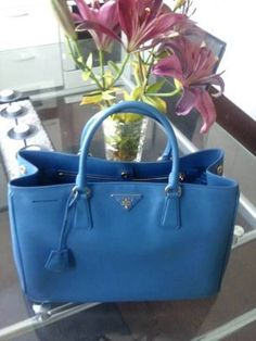 Prada Tote in Cobalt Blue.