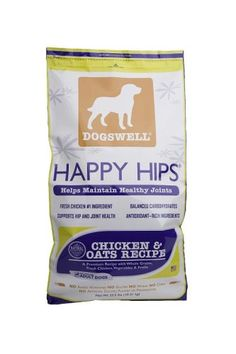 $35.37-$45.98 Dogswell Happy Hips for Dogs, Chicken & Oats Dry Dog Food, 22.5-Pound Bag - HAPPY HIPS® Chicken & Oats Recipe contains fresh chicken as the first ingredient, balanced carbohydrates, fresh fruits and vegetables, and chelated minerals.  As an added benefit, we add glucosamine and chondroitin from natural sources to help maintain your dog's healthy joints. http://www.amazon.com/dp/B001NZPFB0/?tag=pin2pet-20