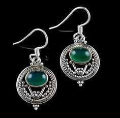 NATURAL GREEN ONYX GEMSTONE HANDMADE EARRINGS 925 STERLING SILVER KJE147 #Unbranded