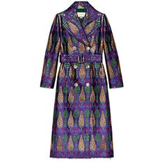 Gucci Belted Lurex Jacquard Coat (€5.585) ❤ liked on Polyvore featuring outerwear, coats, gucci coat and gucci