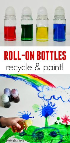 Recycle roll-on deodorant bottles by turning them into roll-on painting bottles for toddlers to make mess-free art! #toddlers #painting #kidscrafts #recycling #kidsart