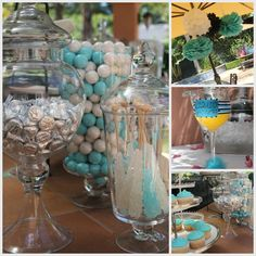 Blue-and-white bridal shower