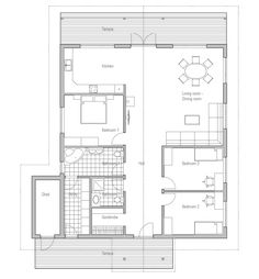 Small house plan CH4  Floor area: 506 sq ft Building area: 1776 sq ft Bedrooms: 3 Bathrooms: 2 Floors: 1 Height: 14′ 1″ Width: 44′ 11″ Depth: 44′ 7″ Cost to Build: from $ 135 000