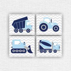 Set mit 4 8х10 Bulldozer Zement LKW Traktor LKW von myfavoritedecor