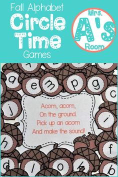 These fall circle time activities for preschool and kindergarten will give you lots of ideas for using games to teach letters and sounds in a way that will have your kids asking to play them again and again! The printable files are ready to print, cut, an Circle Time Games, Circle Time Activities, Circle Game, Autumn Activities For Kids, Fall Preschool, Preschool Themes, Alphabet Activities, Preschool Learning, Circle Time Ideas For Preschool
