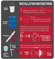 How to make a waterer for chicken? Heated Chicken Waterer, Automatic Chicken Waterer, 55 Gallon, Installation Instructions, Poultry, Drill, Barrel, Good Things, Backyard Chickens