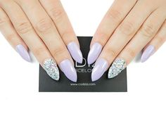 Pastel Lavander with Czech Crystals Fake Nails handmade by CODIZIA