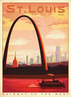 Anderson Design Group Premium Thick-Wrap Canvas Wall Art Print entitled St Louis, Missouri: Gateway to the West - Retro Travel Poster Pub Vintage, Photo Vintage, Style Vintage, Design Vintage, Vintage Inspired, Retro Poster, Vintage Travel Posters, Gateway Arch, Kunst Poster