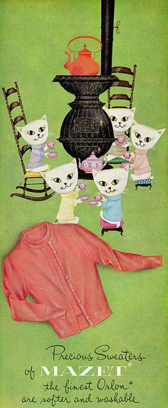 50s sweater set print ad knit wool twin set top jumper cardigan coral pink Mazet Cats in matching 'precious' sweaters :)