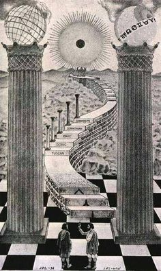 Three Secret Societies associated with The Stairway: Depicts three Orbs, Two columns, three steps, incline with 5 more era posts, check floor (basis of chess thrones, principalities, religion, army, etc.) - the Pantheon