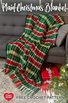 The Plaid Christmas Crochet Afghan Pattern is an easy crochet pattern that feels as cozy as it looks. This afghan uses chains woven into a basic stripe pattern. Christmas Crochet Blanket, Christmas Afghan, Plaid Crochet, Christmas Crochet Patterns, Plaid Christmas, Christmas Time, Crochet Ornaments, Crochet Snowflakes, Christmas Morning
