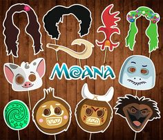 Moana Photo Booth Props Printable PDF Moana Birthday Party