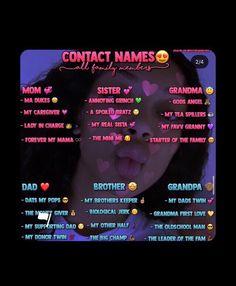Cute Boyfriend Nicknames, Funny Nicknames For Friends, Name For Instagram, Instagram Quotes, Funny Contact Names, Names For Snapchat, Group Names Ideas, Name Inspiration, Teen Life Hacks
