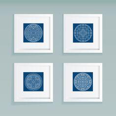 Navy Blue Set of Mandala Prints  Various Sizes by BrixtonPaperShop