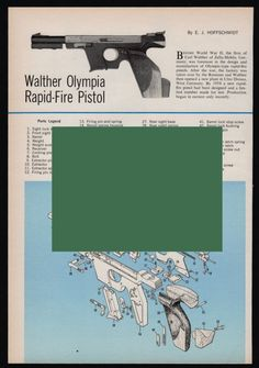 1965 WALTHER OLYMPIA Rapid-Fire PISTOL Exploded View Parts List Assembly Article #Walther