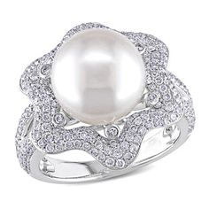 Miadora Signature Collection 14k White Gold South Sea Pearl and 1ct TDW Diamond Ring (G-H, SI1-SI2)