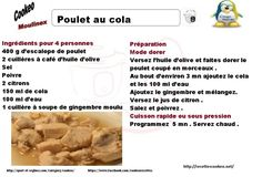 Fiche cookeo poulet cola weight watchers 4 PP 5 SP 319 calories