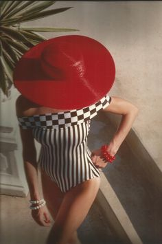 Red 80's Hat by Milliner Frank Olive