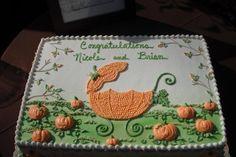 Pumpkin themed baby shower cake idea