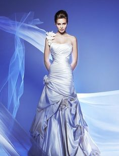 Bridal Gowns: Alita Graham A-Line Wedding Dress with Strapless Neckline and Dropped Waist Waistline