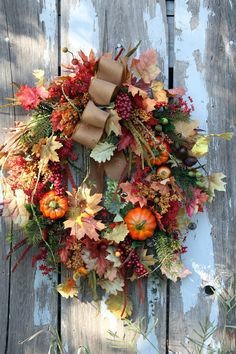 Cornucopia Wreath Berries Fruit Gourds por sweetsomethingdesign
