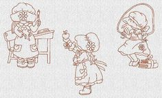 School Days Sunbonnet Sue Redwork Machine Embroidery Designs