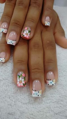Glamorous Flower Nail Art Designs for Summer Fabulous Nails, Gorgeous Nails, Pretty Nails, Fingernail Designs, Toe Nail Designs, French Nails, Floral Nail Art, Nagel Gel, Flower Nails
