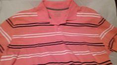 "polo shirt St.johns Bay, salmon striped polo men""s xl short sleeve #StJohnsBay #PoloRugby"