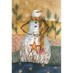 Americana Snowman House Flag